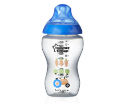 Kojenecká fľaška s obrázkami Tomme Tippee C2N, 340ml, 3+  Modrý Traktor