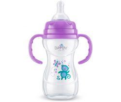 Kojenecká fľaška s úchytmi 240 ml fialová Bayby BFB 6107