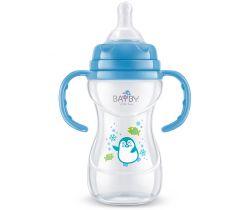 Kojenecká fľaška s úchytmi 240 ml modrá Bayby BFB 6106