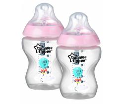 Dojčenská fľaša Tommee Tippee C2N, Ružová, 2ks 260ml, 0m +