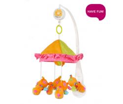 Kolotoč nad postieľku BabyOno Oranžoví Pejsci pod baldachýmom