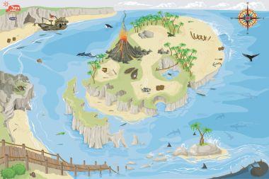 Hrací koberec 80x120 cm Le Toy Van PLAYMAT Pirátsky ostrov