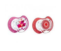 Lovi Etno silikonový dynamický cumlík červeno-ružový 2 ks