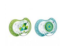 Lovi Etno silikonový dynamický cumlík zeleno-modrý 2 ks