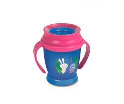 Lovi Hrnček 360 MINI Rabbit 210ml s úchytkami bez BPA ružový