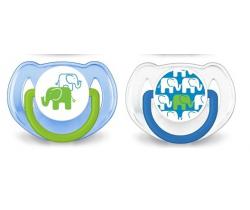 Ortodontický cumlík 2 ks Avent Blue Elephants