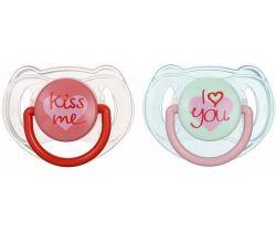 Ortodontický cumlík 2 ks Avent I Love You/Kiss Me
