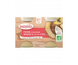Ovocný príkrm jablko, banán a kokosové mlieko 2x130g Babybio