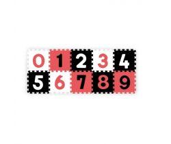 Penové puzzle BabyOno Pastelové Čísla 10 ks Black/Red/White