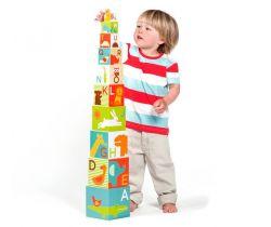 Veža z ABC kociek sa safari zvieratkami Petitcollage