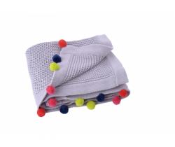 Pletená deka s brmbolcami Kikadu