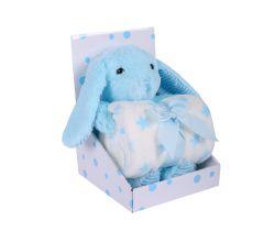 Plyšová hračka + Deka 75x100 cm DuetBaby Bunny Blue