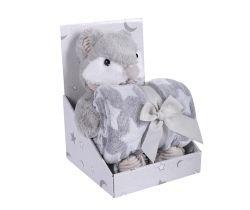 Plyšová hračka + Deka 75x100 cm DuetBaby Mouse Grey
