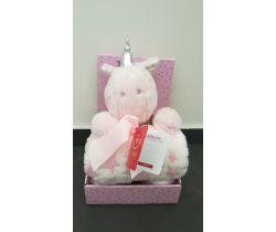 Plyšová deka + 100x75 cm deka Bobas Pink Unicorn