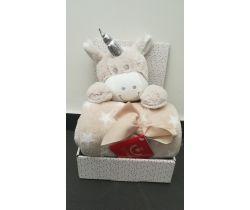 Plyšová hračka + 75x100 cm deka Bobas Beige Cow Unicorn