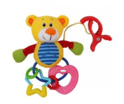 Plyšová hračka s hrkálkou BabyMix Žltý Medvedík
