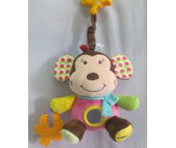Plyšová hračka s hudbou BabyMix Opička ružová
