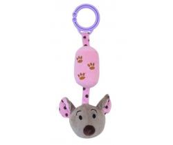 Plyšová hračka s rolničkou BabyMix Myška ružová