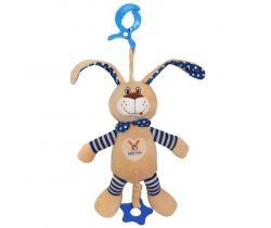 Plyšová hračka s hrajúcim strojčekom BabyMix Králíček Modrý