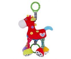 Plyšová hračka so zvukom Babymix Červený Koníček