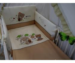 Obliečky bavlnený satén hnedé Baby´s Zone Medvedík s medem