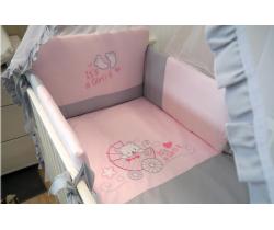 Obliečky bavlnený satén ružové Baby´s Zone Kočík