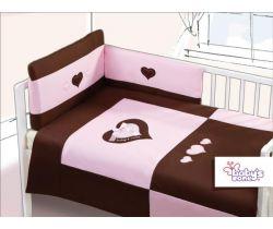Obliečky bavlnený satén růžovo/čokoládové Baby´s Zone Srdiečko