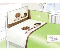 Obliečky bavlnený satén zelené Baby´s Zone Hedgehogs
