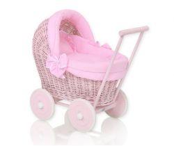 Prútený kočík pre bábiku My Sweet Baby Ružový
