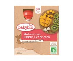 Pyré kivi, mango a kokosové mlieko 4x90g Babybio