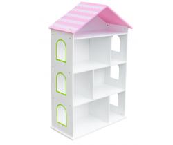 Regál s ružovou strechou Wooden Toys