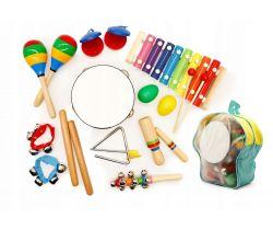 Set 10 ks hudobných nástrojov s batôžkom EcoToys