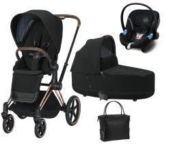 Kočík Set 3v1 Cybex Priam 2021 Podvozok Rosegold + Seat Pack + Hlboká korbička Lux + Aton M I-Size + Taška