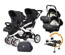 Set kočík pre dvojčatá Casualplay Stwinner, 2x autosedačka Baby 0Plus, 2x Basefix Baby 0Plus a taška