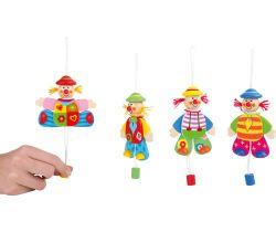 Drevená dekorácia 1 ks Small Foot Hýbajúce sa klaun na zavesenie