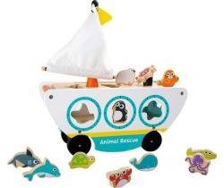 Drevená loď s vkladaním morských zvieratiek Small Foot
