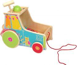 Drevená motorická hra Small Foot Traktor s xylofónom
