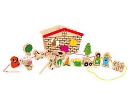 Drevená motorická hračka Small Foot Prevliekacia hra Farma