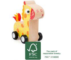 Drevená žirafa na kolieskach Small Foot Žltá
