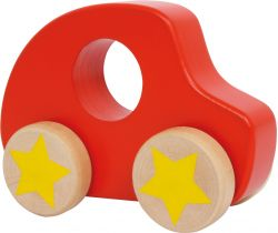 Drevené autíčko Small Foot Červené s hviezdou