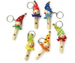 Drevené prívesky na kľúče súprava 6 ks Small Foot Píšťalka klauni