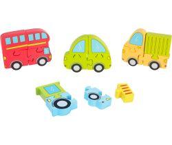 Drevené puzzle 4v1 Small Foot Dopravné prostriedky