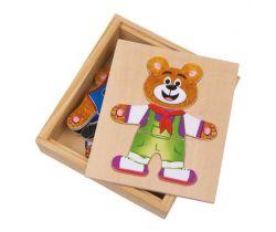 Drevené puzzle Small Foot Obliekanie medvedíkov