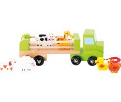 Drevené ťahacie nákladné auto so zvieratkami Small Foot