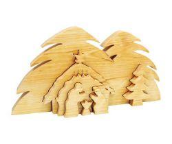 Drevené vianočné ozdoby 3D Small Foot Jasličky Betlehem