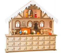 Drevený adventný kalendár Small Foot Čarovný vianočné dom