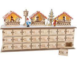 Drevený adventný kalendár Small Foot Vianočné trhy