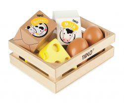Drevená debnička s mliečnymi výrobkami a vajcami Tidlo
