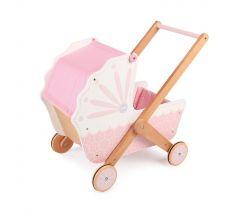 Drevený kočík pre bábiky Tidlo Ružový