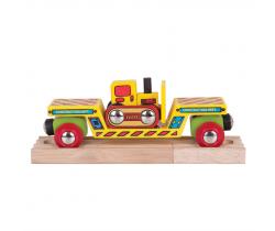 Vagón s buldozérom + 2 koľaje Bigjigs Rail